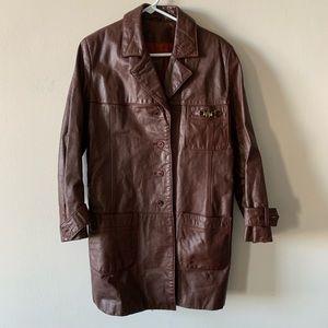 Vintage oversized Etienne Aigner leather coat